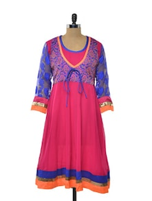Pop Pink and Blue Anarkali Kurta - NAVYOU