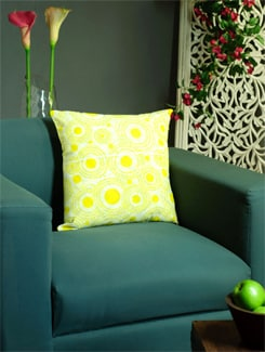 Yellow Embroidered Cushion Cover - REME