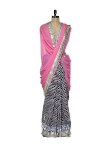 Chic Chiffon Saree In Pink - Purple Oyster