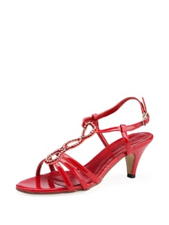 Strappy Red Sandals With Diamontes - Carlton London