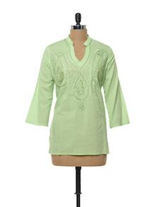Mint Green Cotton Kurti - Myra