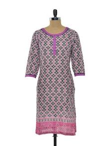 Geometric Cotton Kurta In Pink & Grey - Myra