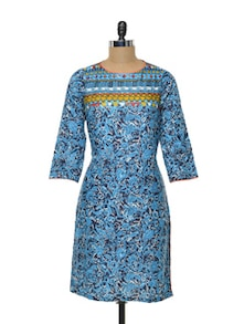 Printed Turquoise Cotton Kurta - Myra