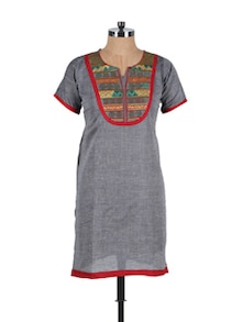 Grey Embroidered Kurta - Vani
