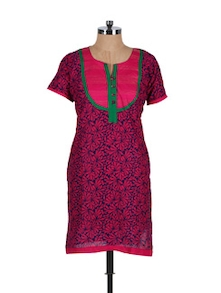Pink Printed Cotton Kurta - Vani