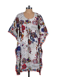 Printed Kaftan With Pom-Pom Lace - Stylechiks