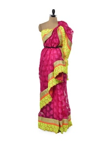 Pink Passion Net Saree - Free Living