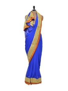 Cobalt Blue Sensuous Saree - Free Living