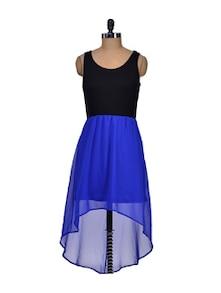 Blue And Black Short Front Dress - Harpa