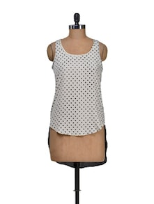 White Polka Dot Short Front Top - Harpa