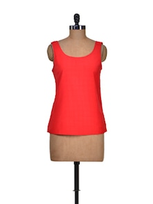 Electric Red Loose-Fit Top - Harpa