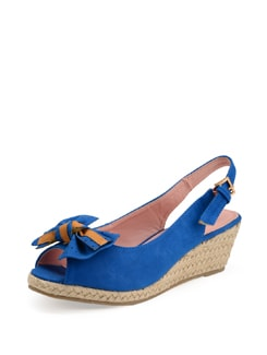 Blue Wedge Sandal With Polka Dotted Bow - Carlton London