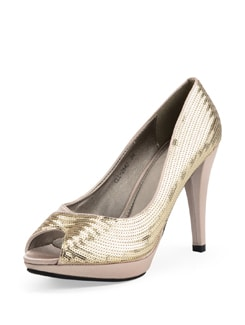 Gold Toned Satin Peep Toe Sandals With Sequins - Carlton London
