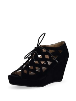 Black Lace Up Wedge Sandals - Carlton London