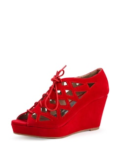 Red Lace Up Wedge Sandals - Carlton London