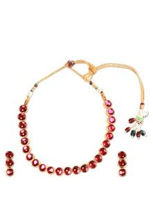 Rani Pink Necklace Set - SriyasCreation