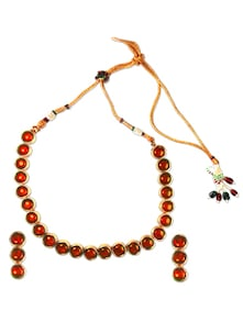 Flaming Orange Necklace Set - SriyasCreation