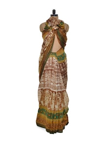 Brown And Green Bhagalpuri Silk Saree - ROOP KASHISH