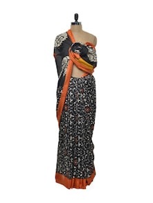 Vibrant Orange And Black Saree - ROOP KASHISH