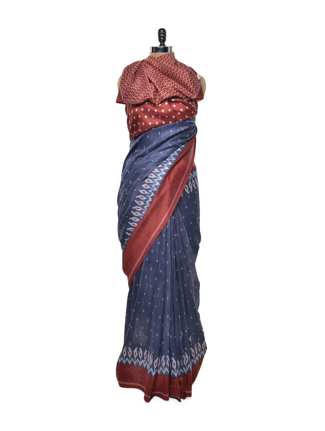 Blue And Red Printed Saree - ROOP KASHISH