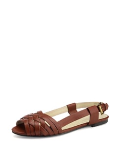 Brown Leather Woven Sandals - Carlton London