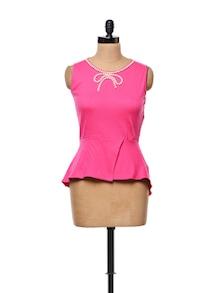 Pink Peplum Top With Pearl Embellished Neckline - CHERYMOYA