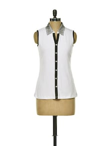 Black And White Sleeveless Top - CHERYMOYA