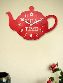 Red Kettle Tea Time Wall Clock - Kairos