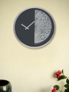 Black Half Gear Circle Wall Clock - Kairos