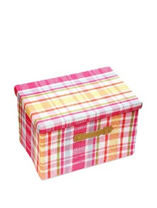 Kids Storage Box With Pink And White Checks ( Medium) - Uberlyfe