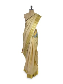 Off-White And Gold Saree - Pratiksha
