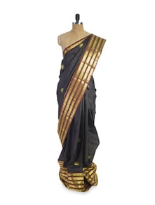 Black Saree With Gold Stripes - Pratiksha