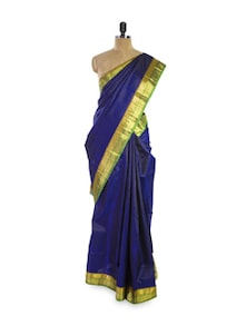 Beautiful Blue And Gold Silk Saree - Pratiksha