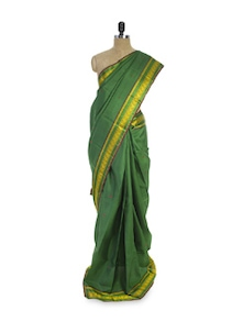 Dark Green And Gold Saree - Pratiksha