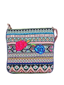 Floral Embroidered-Ikkat Cross Body Bag - Shaun Design