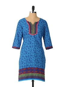 Chic Blue Printed Long Sleeved Kurta - Aaboli