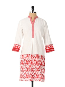Stylish Collared Neck White And Red Kurta - Aaboli