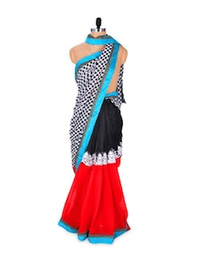Contrasting Saree With Polka Dotted Pallu - Khantil