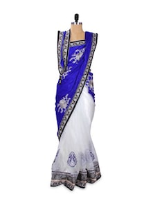 White Net Saree With Royal Blue Pallu - Khantil