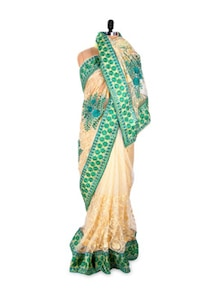 Beige Saree With Contrasting Green Border - Khantil