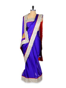 Lace Bordered Saree In Royal Blue Georgette - Khantil