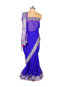 Royal Blue Chiffon Saree With Sequinned Border - Khantil