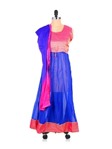 Sheer Royal Blue Anarkali Suit Set With Bright Pink Yoke - Khantil