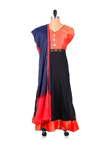 Georgette Anarkali In Black And Red - Khantil