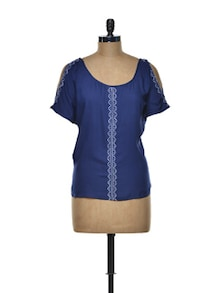 Elegant Blue Embroidered Top - I AM FOR YOU