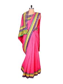 Pink Khadi Silk Saree - Fabdeal