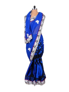 Gorgeous Blue And Black Chiffon Saree - Fabdeal