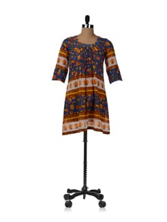Blue Block Print Kurta With Pleated Yoke - JUGNU