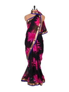 Black And Pink Crush Georgette Saree - Fabdeal