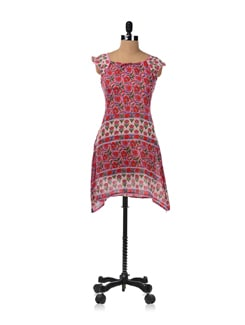 Pink Block Printed Cotton Kurti - JUGNU